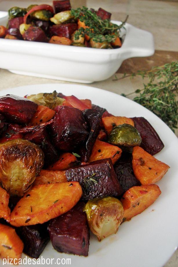 Vegetales rostizados al tomillo | http://www.pizcadesabor.com/2012/12/17/vegetales-rostizados-al-tomillo/