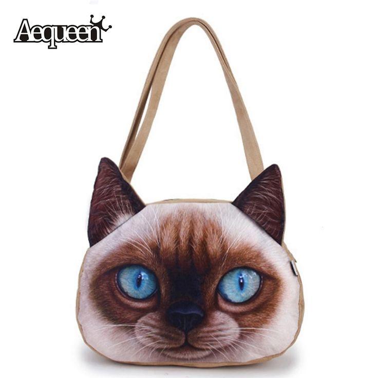 3dつや消し女性かわいい猫印刷ハンドバッグショルダージッパーポリエステル学生ハンドバッグ女の子動物バッグランドセルカジュアルトートホット