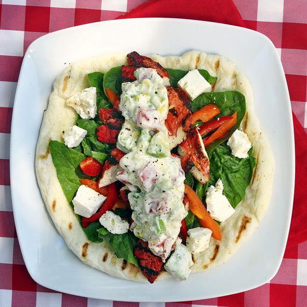 Chicken Souvlaki Wraps with Tomato Avocado Tzatziki – boost the flavor factor in…