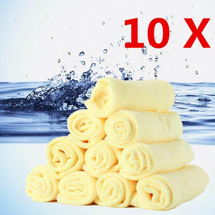 10 unids 30*30 cm microfiber paños de limpieza de coches de microfibra car care cera pulir detailing lavado de toallas paños de secado