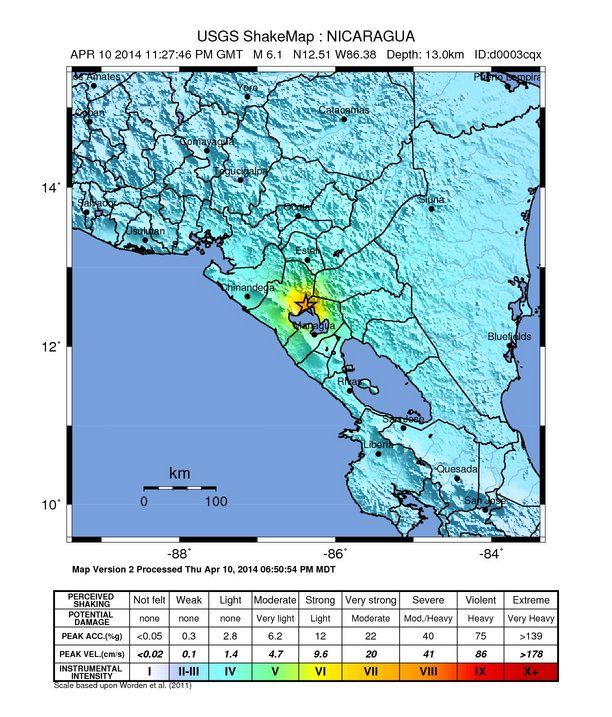 Map of 6.1 earthquake yesterday (April 10, 2014) in Nicaragua.