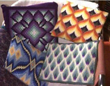 bargello pillows on chair