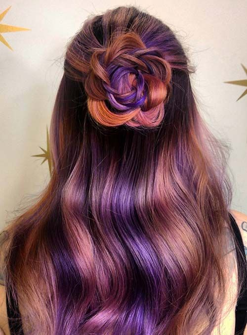 Pastel and Neon Hair Colors in Balayage and Ombre: Purple Hair More