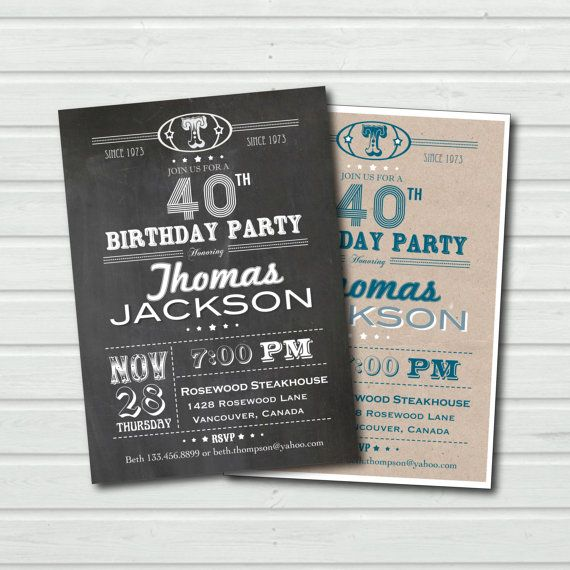 40th Birthday Invitation Adult Chalkboard Shhh Its A Surprise Invite