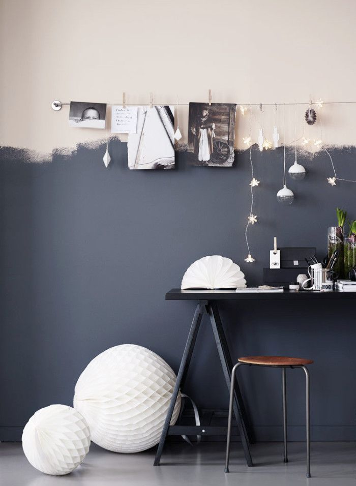 art and light display/ half painted wall// decor on budget ideas// /Repinned via Decorget// Ikea -halvmalat