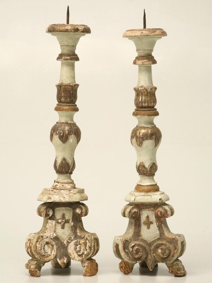 Pair of 18th century Italian altar candlesticks