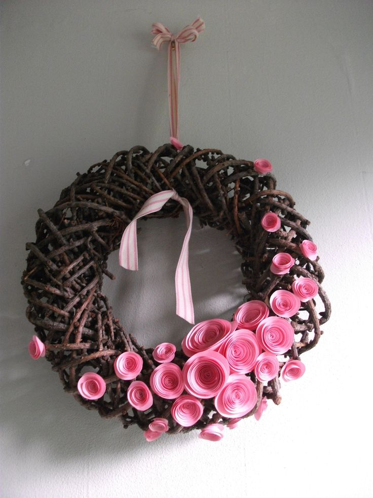 Twig Wreath with Pink paper Roses