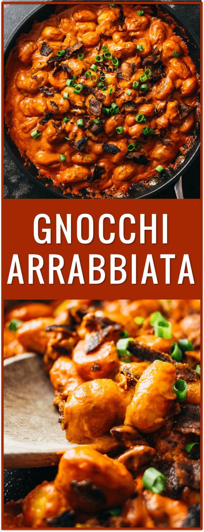 gnocchi arrabbiata, arrabiatta, bacon, tomatoes, pasta, dinner, recipe, easy, spicy, pomodoro, pasta sauce, creamy thick sauce, italian via /savory_tooth/