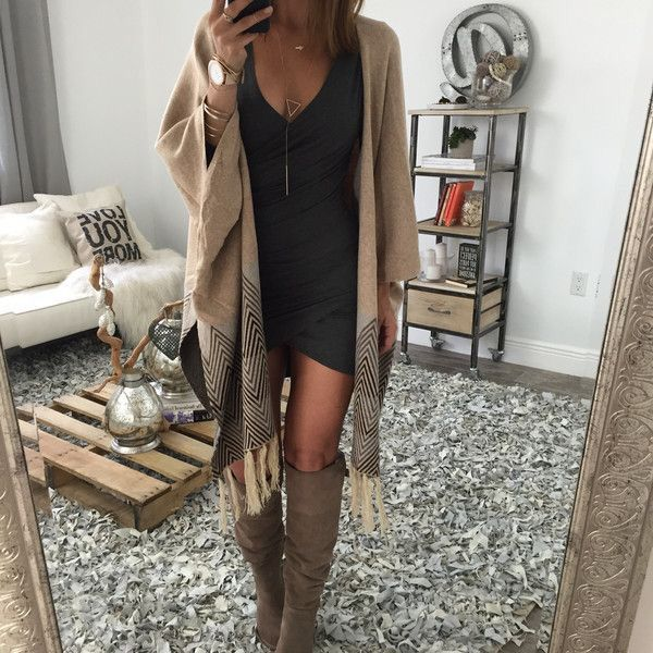 This look! a little revealing for me, but I love the mix of a fitted dress with a loose sweater and boots