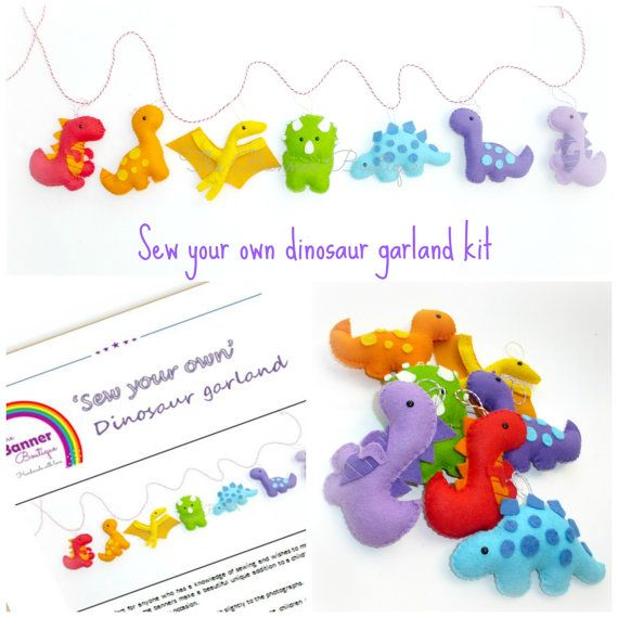 Sew your own Dinosaur felt garland kit by TheBannerBoutiqueUK