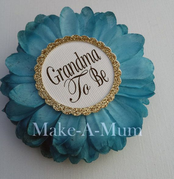 Teal Grandma To be PinHand-dyed Baby Shower by MakeAMum on Etsy