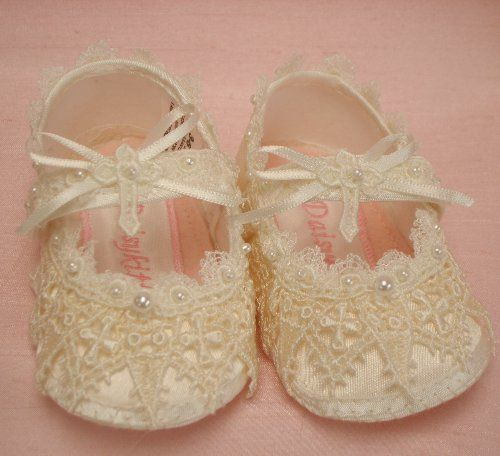Baby shoes girls christening vintage style ivory lace with lace cross ...