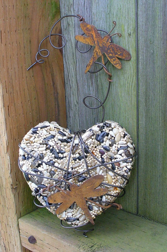 Bird seed cake wrapped in wire... ༺♥༻ ~♥~BE STILL MY HEART~♥~ HELP YOURSELF & ENJOY, SMILES~♥~ ༺♥༻
