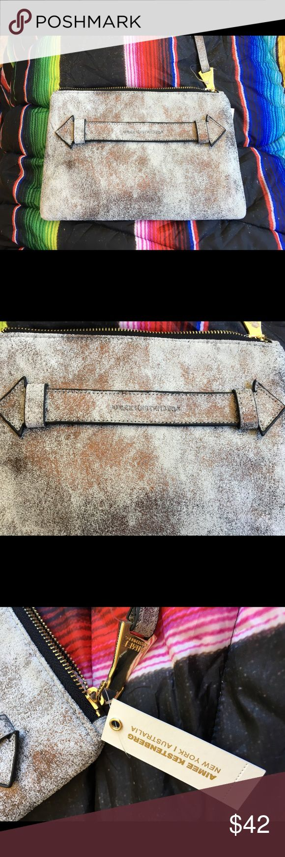 Aimee Kestenburg leather accessory bag White wash grey/gold metallic soft full grain leather bag with compartments.  Practical and pretty! Aimee Kestenberg Bags Wallets