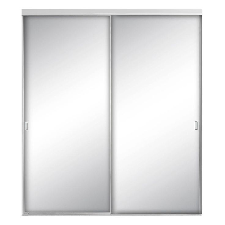 Contractors Wardrobe Style Lite 48 in. x 80-1/2 in. Satin Clear Mirror Aluminum Framed Interior Sliding Door-STY-4880SCN2X - The Home Depot