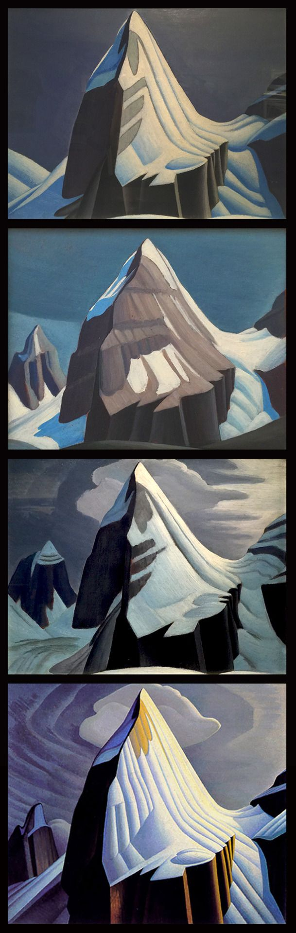 I was very interested to see the similarities and the differences in the studies and then the final work for Mr. Lawren Harris's masterwork of Mt. Lefroy. Three studies first and the final at the bottom. I love them all, but I feel he incorporated...