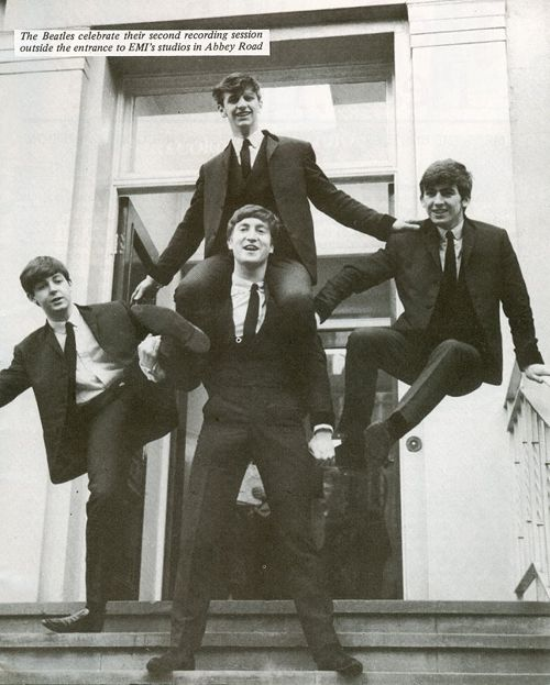 The Beatles everyone!(John's pretty strong holding Ringo above him then holding Paul's foot and George holding on to his shoulder to hold himself up)