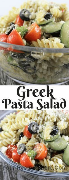 Greek Pasta Salad  Ingredients Produce 1 pint Cherry tomatoes 1 Cucumber 1 Green bell pepper Condiments 1 3.8 ounce can Black olives Pasta & Grains 1 box Spiral rotini Dairy 6 oz Feta cheese Other 12 ounces Greek Dressing. I used Girardi's but use what you love or make your own