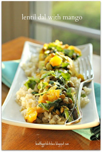 Dr. Fuhrman's Lentil Dal with mango - need fresh ginger, spinach, cilantro - healthygirlskitchen