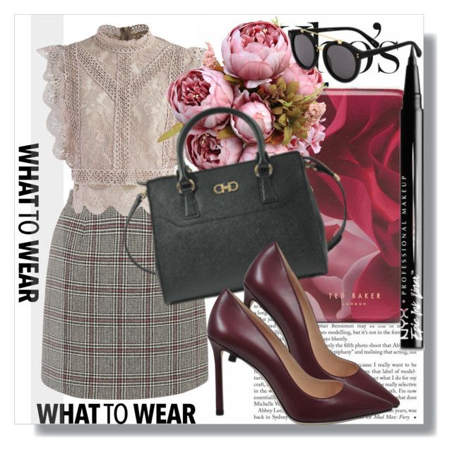 """""""Monnier Freres !!"""" by dianagrigoryan ❤ liked on Polyvore featuring Carven, Chicwish, Ted Baker, Salvatore Ferragamo, Jimmy Choo, NYX, STELLA McCARTNEY, plaid and girlsnight"""