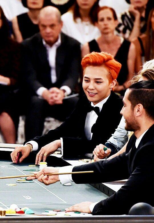 orange hair x black tuxedo :: G Dragon of #BigBang at Chanel Fall 2015 Haute Couture show