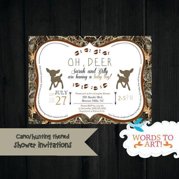 CUSTOM Deer Camouflage Baby Shower Invitations Boy by WordsToArt