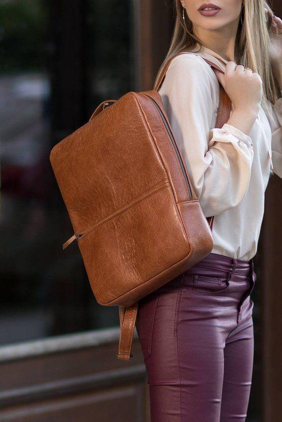 Small Backpack Laptop Bag Cognac Leather Backpack Travel Backpack Dark Brown Backpack Minimalist Backpack Adjustable Strap Backpack