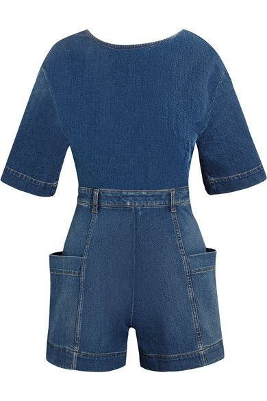 Blue stretch-denim Button and zip fastening at back 92% cotton, 6% elastomultiester, 2% elastane Machine wash Made in Italy