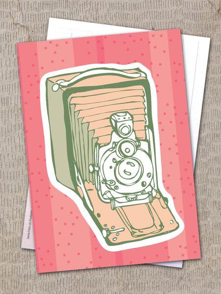 """Postkarte """"alte Fotokamera"""" von Granatapfel - Onlineshop mit Illustriertem. auf DaWanda.com"""