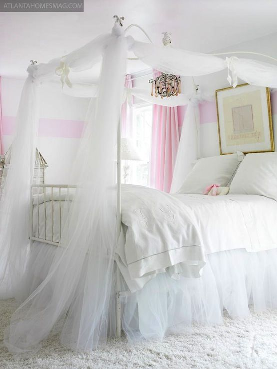 Suzie: Atlanta Homes & Lifestyles - Whimsical girl's bedroom design with white & pink striped ...
