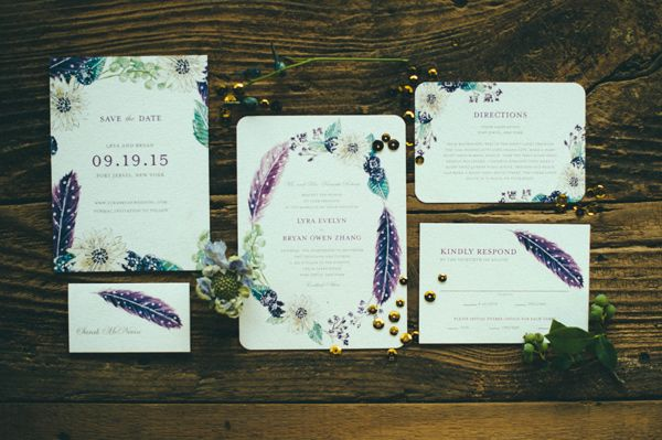 Feather Invitations Bohemian Nouveau Styled Wedding