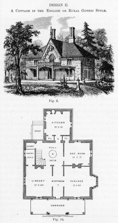 a j downing victorian gothic cottages - Gothic Revival Farmhouse Plans