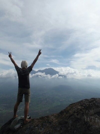 free hike mount penanggungan (mount arjuno in the front), east java, indonesia