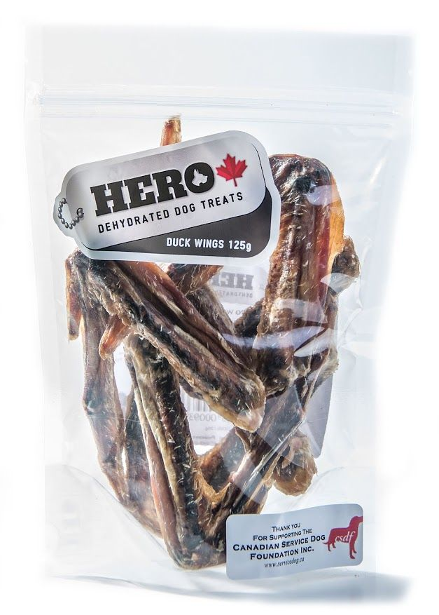 Duck Wings – 125gr   12.99 HeroDogTreats™ Duck Wings are a Great Crunchy Treat Your HERO Will LOVE. These Great Dehydrated Snacks are Excellent for Dental Cleaning, and are a Natural Source of Chondrotin for Joint Health.