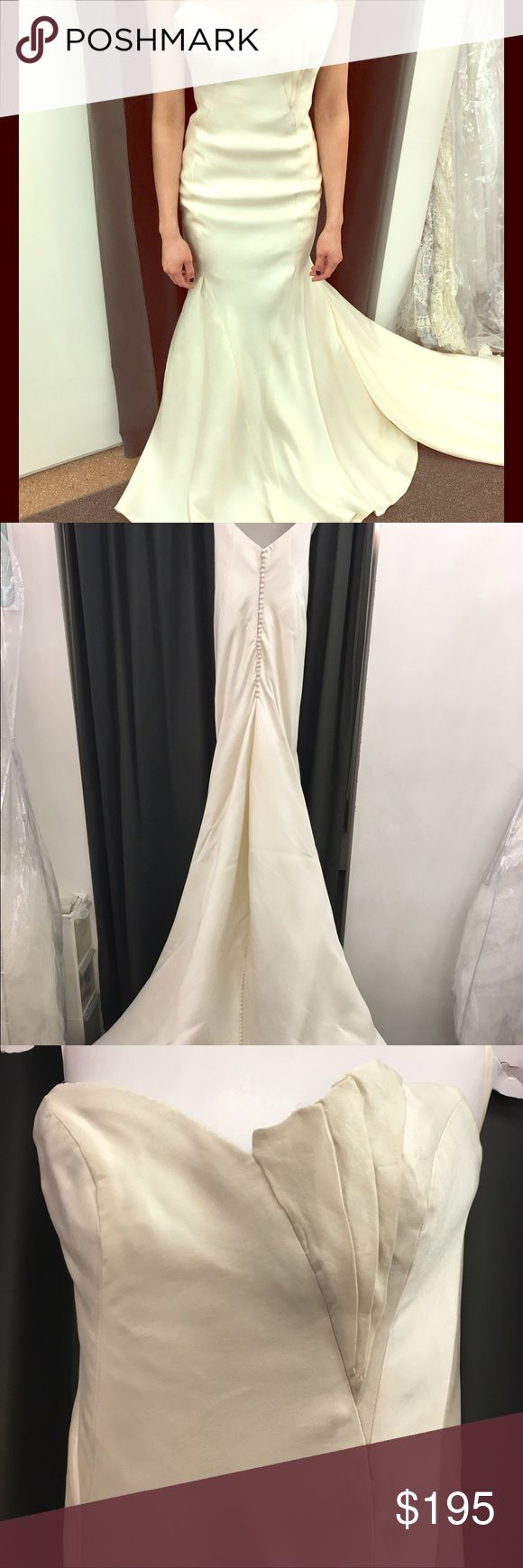 Ivory, silk satin, wedding gown by Anna Maier. Bridal size 2 (street size 0). Strapless wedding gown with pleated detail and buttons all the way down the back bodice to end of train. Fabric needs work but gown can be molded and customized to your vision!! It's a great base for your creation! Anna Maier Dresses Wedding