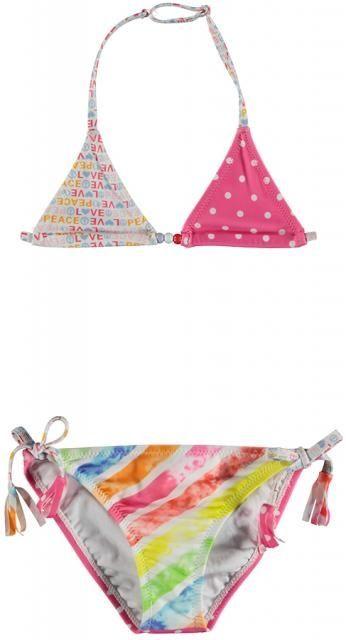 Bomba for Girls - Bikini Multi Print / Pink White - Witte / roze bikini van het merk Bomba For Girls.  Triangel bikini. Sluit met een schuifknoop achter. Allover- design. | www.onlinekinderkledingkopen.nl/merken/bomba-for-girls