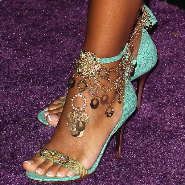 LisaRaye McCoy jeweled chain ankle strap sandals @}-,-;--