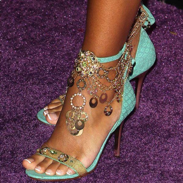 LisaRaye McCoy jeweled chain ankle strap sandals