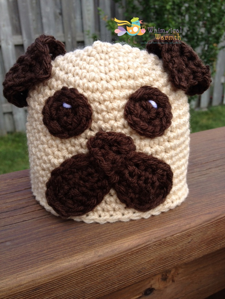 Pug Crochet Hat Pattern    http://www.craftsy.com/user/pattern/store/719312    https://www.facebook.com/WhimsicalWarmth