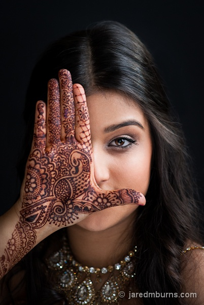 Henna Portrait ::   East Indian model Karishma Sharma poses with hand to feature the henna art of sarahenna.com - by Jared M. Burns Photography www.jaredmburns.com