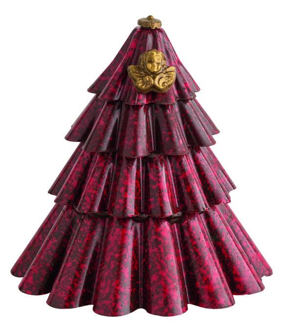 Sapin Marbré Pour un Noël placé sous le signe de l'élégance, Roland Réauté a imaginé ce sapin en chocolat noir marbré d'un rouge éclatant. Orné d'angelots dorés, il sublimera à lui seul les centres de table. À admirer avant de le croquer !