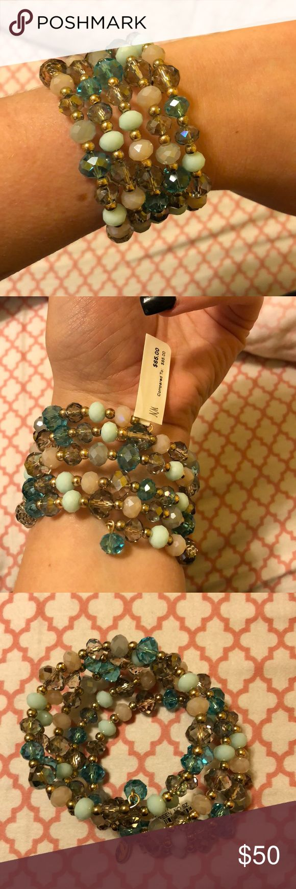 NWT Wrap Around Beaded Bracelet Gold and turquoise multi-color beaded bracelet.  Wrap around- all one piece. Never worn with tags. Neiman Marcus Jewelry Bracelets