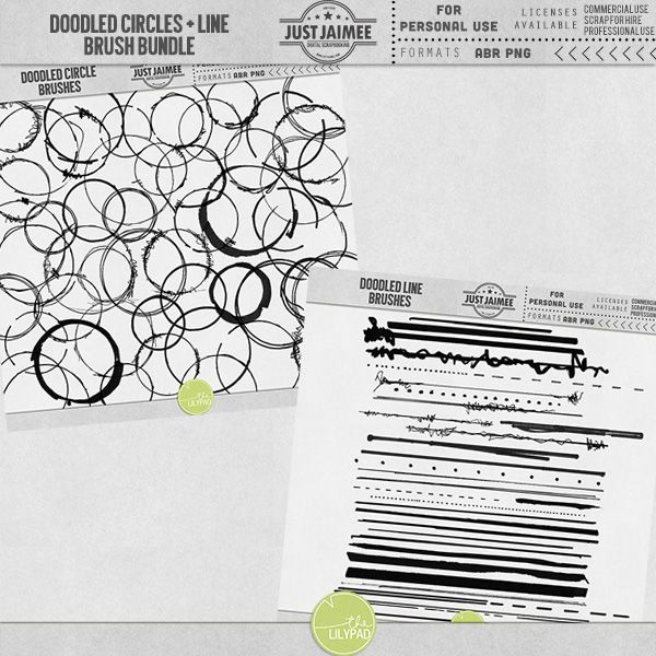 Doodled Line + Circle Brushes Bundle {CU available}