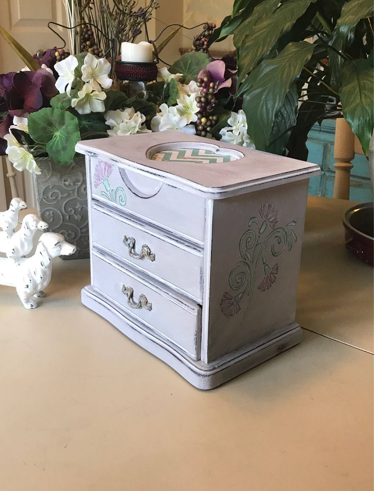 Vintage Jewelry Box / Painted Wooden Jewelry Box / Upcycled OOAK Jewelry Chest / Womens Gifts by ByeByBirdieDesigns on Etsy https://www.etsy.com/listing/454530672/vintage-jewelry-box-painted-wooden