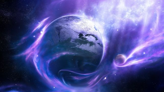 Download 1920x1080 Hd Wallpaper Violet Wave Planet Moon Light Desktop Backgrounds Hd Purple Galaxy Wallpaper Galaxy Wallpaper Space Art