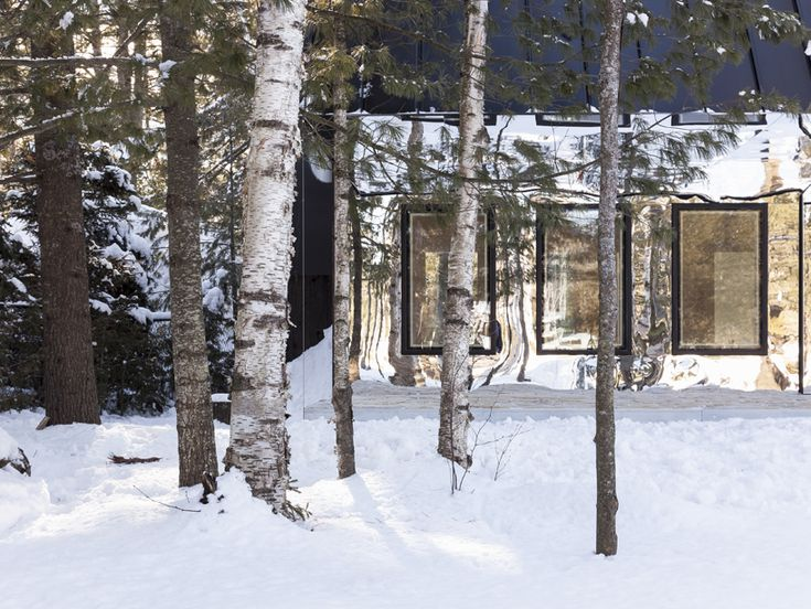 Reflective Wood and Mirror Lake House in Bolsover, Ontario • Selectism