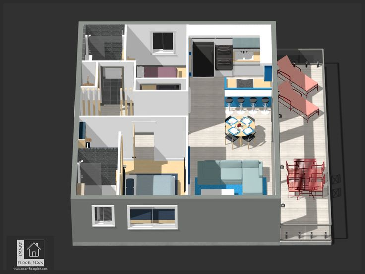 Kinsale Apartment 3D views Floor Plan. Ireland