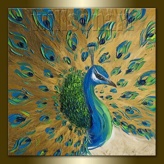 Peacock 3: Pintura original del pavo real del aceite texturizado Espátula Contemporáneo Moderno Animal Art 20X20 por Willson Lau: