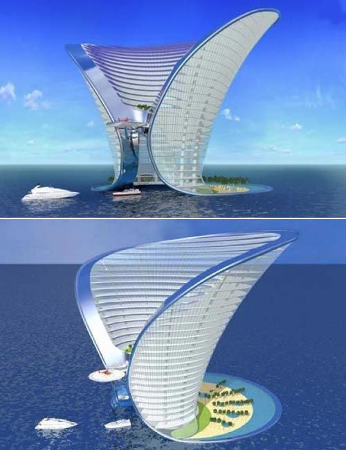 Apeiron Hotel - a 7-star hotel built on an island off of Dubai. The arched 185 meter tall hotel will cost 500 million USD. It will have 350 luxury suites that will only be accessible by yacht and helicopter. Designed by Sybarite UK, the hotel features its own lagoon, beaches, cinemas and art gallery.