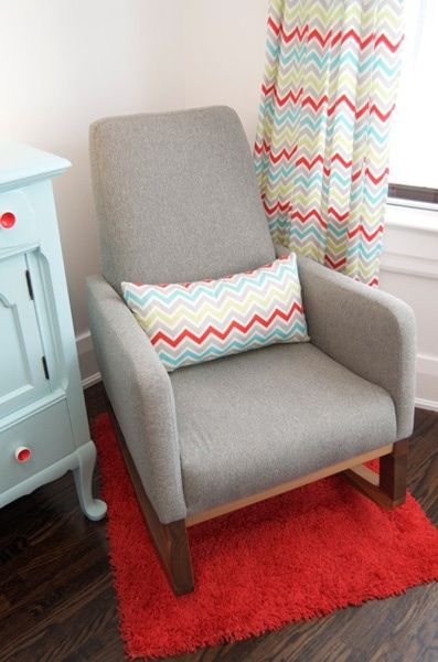 Grey nursery rocking chair by Monte Design. Love these curtains